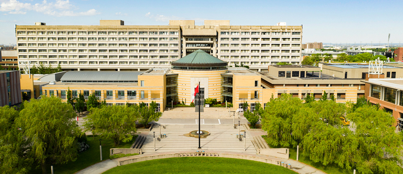 aerial shot of Vari Hall with the Ross building behind it